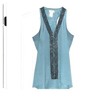 Teal sequin embellished top